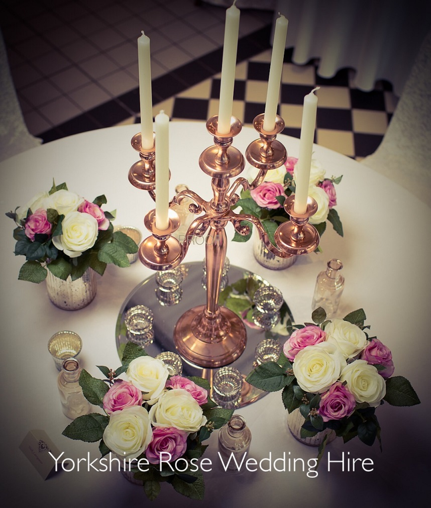 Candelabra Wedding Styling by Yorkshire Rose Wedding Hire